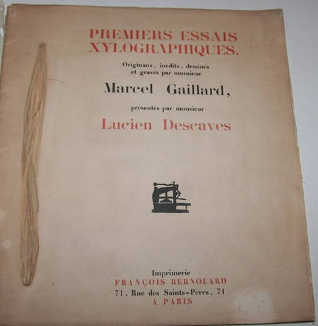 [Gravure sur bois] Marcel Gaillard. Premiers Essais xylographiques - 1919 - Photo 1 - livre rare
