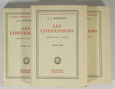 ROUSSEAU (J.-J.) - Les confessions - Bossard - 3 volumes - 1929 - Photo 1 - livre d'occasion