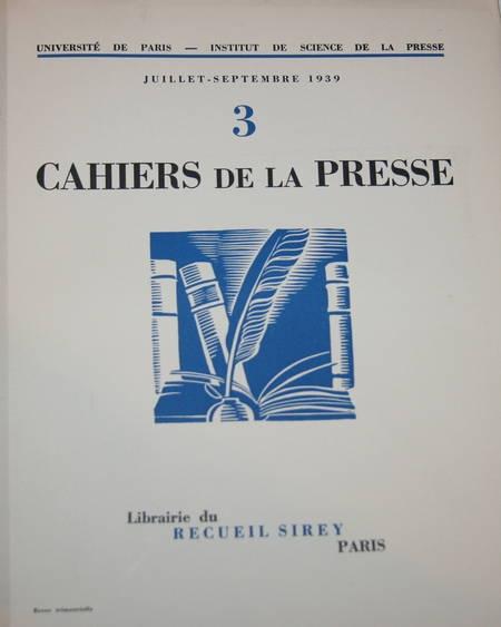 . Cahiers de la presse n° 3 de juillet-septembre 1939