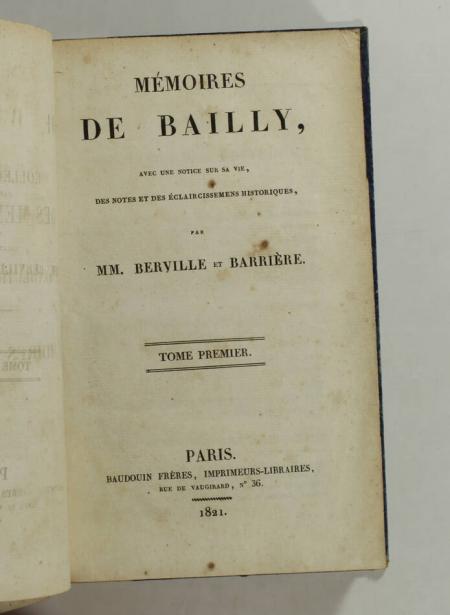 BERVILLE et BARRIERE - Mémoires de Bailly - 1821 - 3 vol. - Reliés - Photo 1 - livre de bibliophilie
