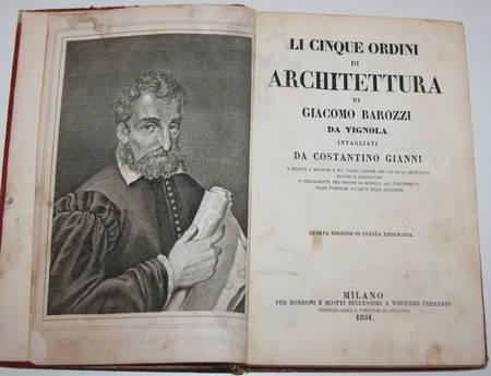 [Architecture] Vignole en italien - cinque ordini (cinq ordres) 1851 - Planches - Photo 1 - livre de collection