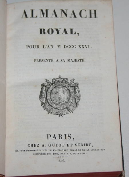 Almanach royal pour l'an MDCCCXXVI présenté à sa majesté - 1826 - Relié - Photo 1 - livre romantique