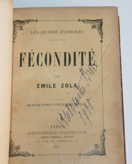 ZOLA (Emile) - Fécondité - 1900 - Relié - Ex-libris Camille Doucet - Photo 2 - livre moderne