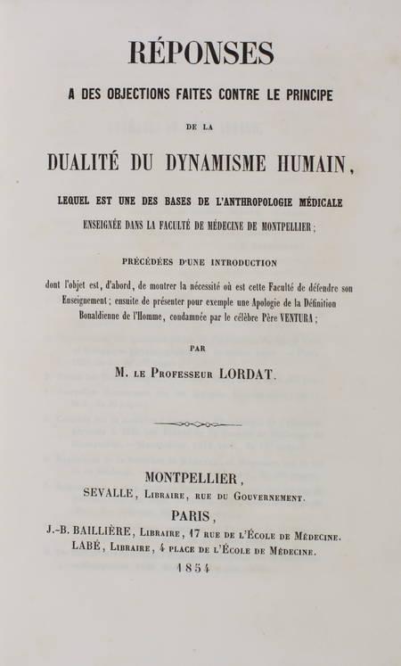Lordat - Principe de la dualité du dynamisme humain 1854 - Relié - Photo 0 - livre du XIXe siècle