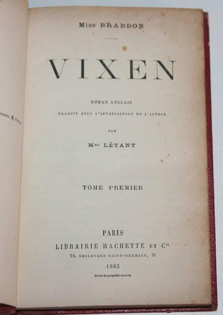 Braddon - Vixen - Roman anglais - Traduit par Mme Létant - 1883 - 2 vol Reliés - Photo 1 - livre de collection