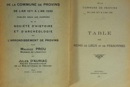 Prou - Actes et comptes de la commune de Provins de l'an 1271 à l'an 1330 - Photo 0, livre rare du XXe siècle