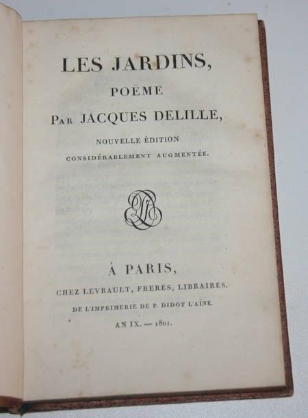 DELILLE - Les jardins ou l art d embellir les paysages - 1801 - Reliure signée - Photo 1, livre ancien du XIXe siècle