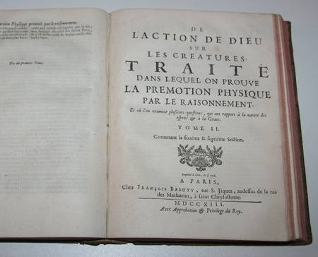De l'action de Dieu sur les créatures; Prémotion physique par raisonnement 1713 - Photo 3 - livre d'occasion