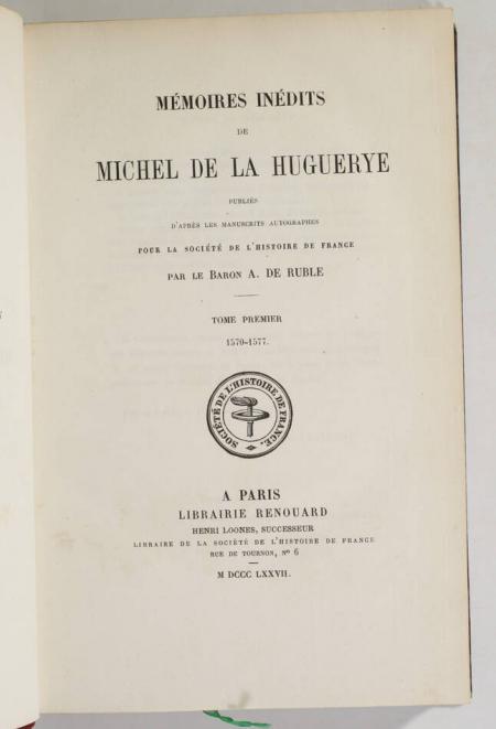 Mémoires inédits de Michel de la Huguerye - 1877-1880 - 3 vol. reliés - Photo 1, livre rare du XIXe siècle