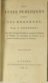 Grobert - Des fêtes publiques chez les modernes - An X (1802) - Relié - Photo 0, livre ancien du XIXe siècle