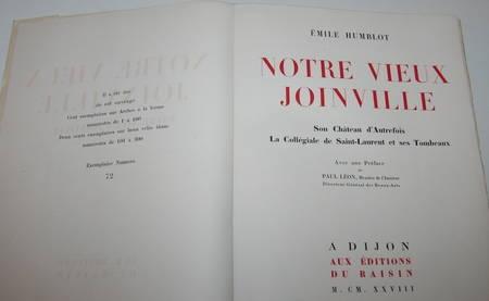 [Champagne Haute-Marne] Humblot - Notre vieux Joinville - 1928-9 - EO rare - Photo 1 - livre d'occasion