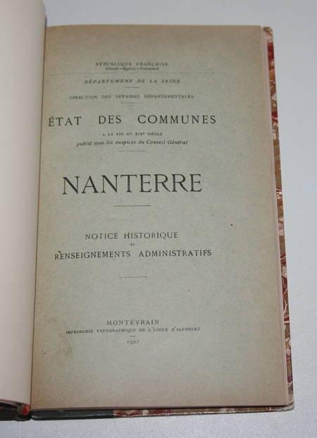 Nanterre. Notice historique et renseignements administratifs - 1903 - Photo 1 - livre d'occasion