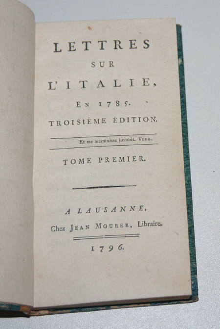 DUPATY - Lettres sur l'ITALIE - Lausanne - 1796 - 2 volumes reliés - Photo 1 - livre de bibliophilie