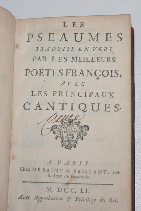 Les pseaumes traduits en vers par les poëtes - Avec cantiques - 1751 - Photo 1 - livre de bibliophilie