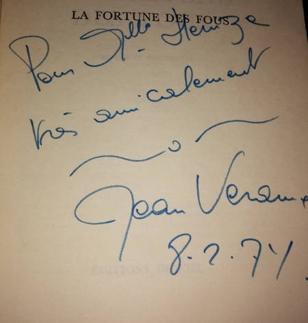 VERAME (Jean). La fortune des fous. Comi-drame occidental