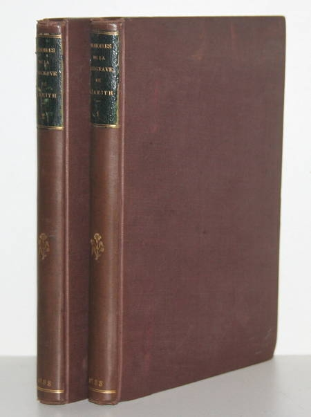 Mémoires de Frédérique Sophie Wilhelmine margrave de Bareit - 1888 - 2 vol rel. - Photo 1 - livre de bibliophilie