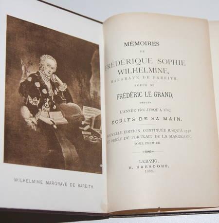 Mémoires de Frédérique Sophie Wilhelmine margrave de Bareit - 1888 - 2 vol rel. - Photo 2 - livre de bibliophilie