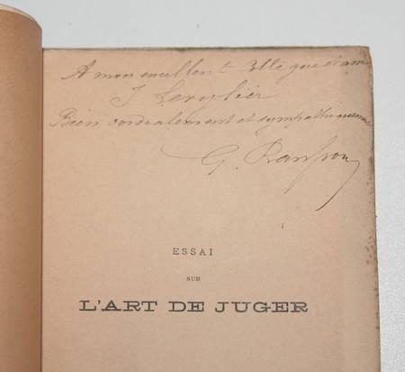 RANSSON (G.). Essai sur l'art de juger, livre rare du XXe siècle