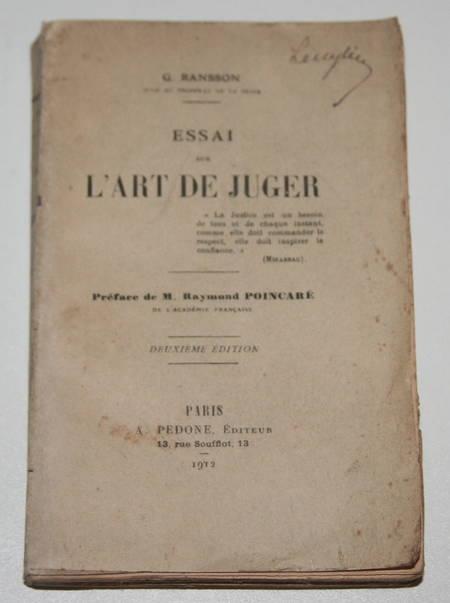 Ransson - Essai sur l art de juger - 1912 - Dédicace - Photo 1, livre rare du XXe siècle