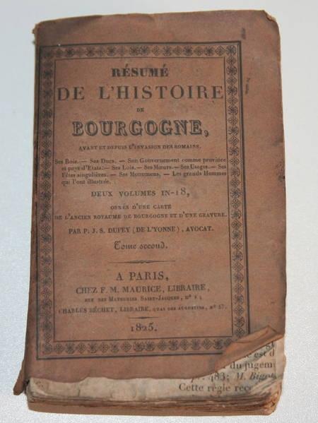 Résumé de l'histoire de Bourgogne - 1825 - Tome 2 - carte dépliante - Photo 1 - livre de bibliophilie
