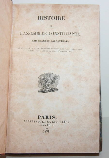 Lacretelle - Histoire de l'assemblée constituante - 1831 - Photo 1 - livre de collection