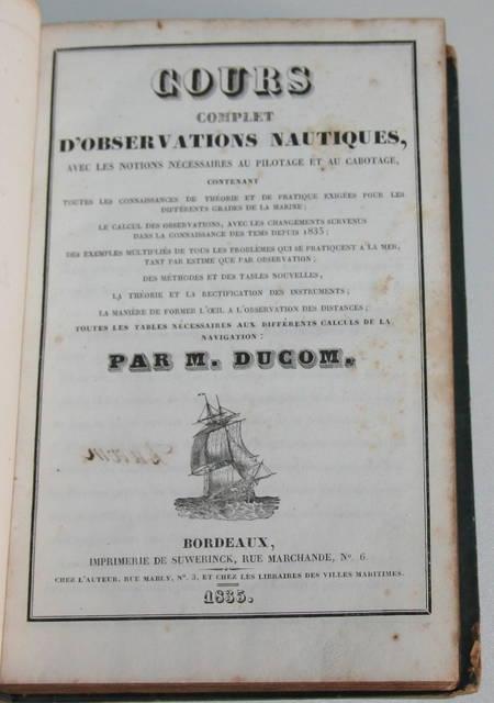 [Marine] Ducom - Cours complet d'observations nautiques 1835 - Photo 0 - livre d'occasion