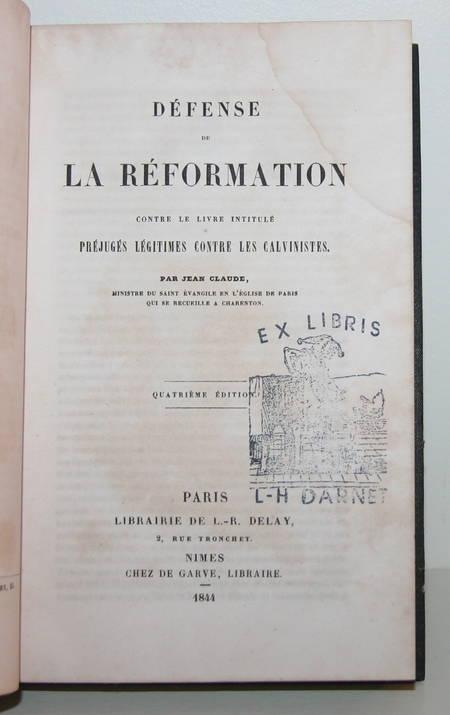 Défense de la réformation contre les préjugés contre les calvinistes 1844 - Photo 1 - livre d'occasion