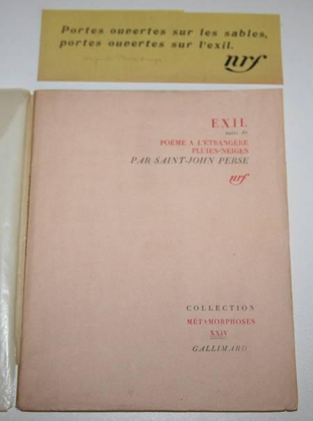SAINT-JOHN PERSE. Exil, suivi de Poèmes à l'étrangère, Pluies-Neiges