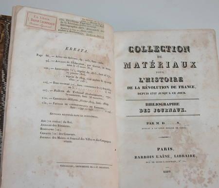 DESCHIENS - Bibliographie des journaux de la Révolution - 1829 - Relié - Photo 1 - livre rare