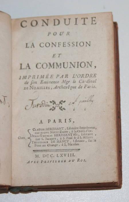 Conduite pour la confession et la communion de Mgr de Noailles - 1768 - Photo 1 - livre ancien