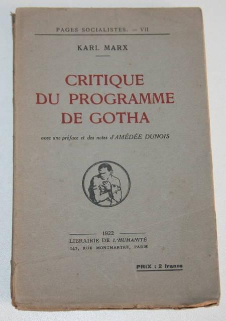 MARX (Karl). Critique du programme de Gotha