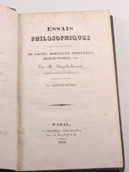 DUGALD-STEWART Essais philosophiques Locke, Berkeley, Priesley ... 1828 - Photo 1 - livre romantique