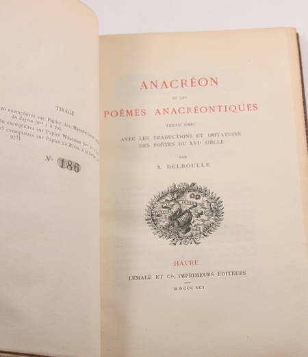 Anacréon et les poèmes anacréontiques - Delboule - 1891 - Reliure fleurdelyssée - Photo 1 - livre de bibliophilie
