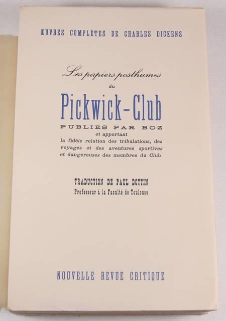 DICKENS (Charles) - Les papiers posthumes du Pickwick-Club - NRC - 1937 - Photo 0, livre rare du XXe siècle