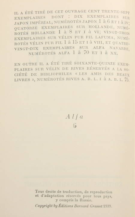 DEREME (Tristan) - L onagre orangé - Grasset - 1939 - EO  1/90 sur Alfa Navarre - Photo 1, livre rare du XXe siècle
