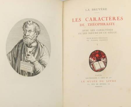 LA BRUYERE - Les caractères de Théophraste - 1928 - Burins de Gandon - 2 vols. - Photo 2 - livre de bibliophilie