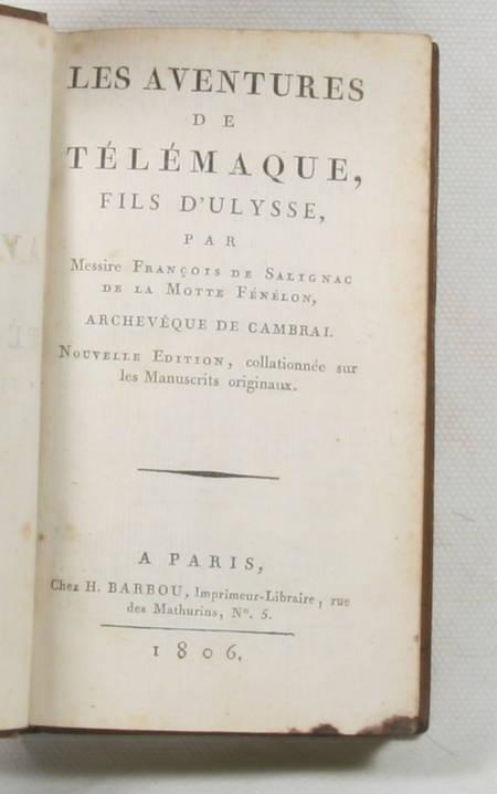 FENELON - Les aventures de Télémaque fils d'Ulysse - Barbou, 1806 - Photo 1 - livre de collection