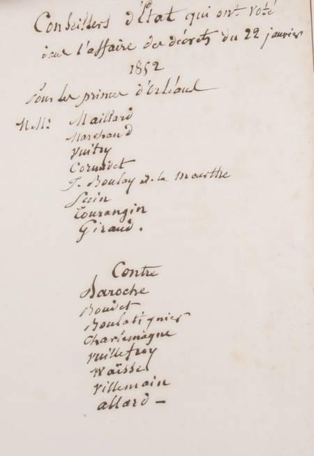 Mémoire et consultation relatifs aux biens de la famille d Orléans - 1852 - Photo 1, livre rare du XIXe siècle