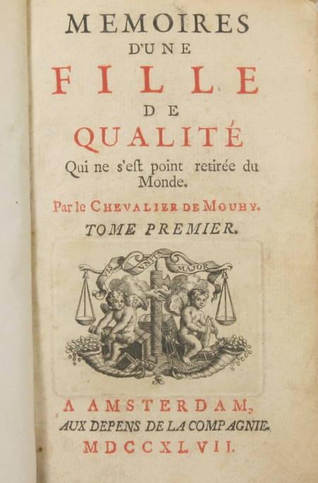 MOUHY Mémoires d'une FILLE de QUALITE qui ne s'est point retiré du monde 4v 1747 - Photo 1 - livre du XVIIIe siècle
