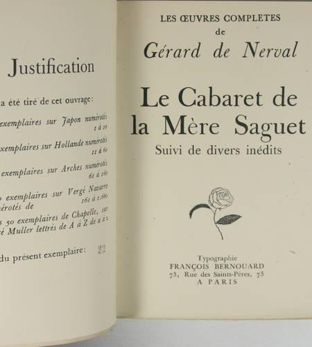NERVAL Le cabaret de la mère SAGUET suivi de divers inédits 1927 - 1/50 Hollande - Photo 1 - livre du XXe siècle