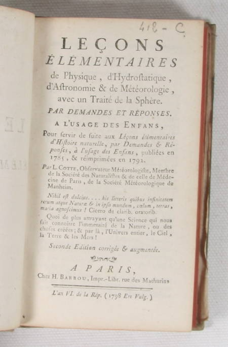 COTTE Leçons de physique, d'hydrostatique, d'astronomie et de météorologie 1798 - Photo 2 - livre de bibliophilie