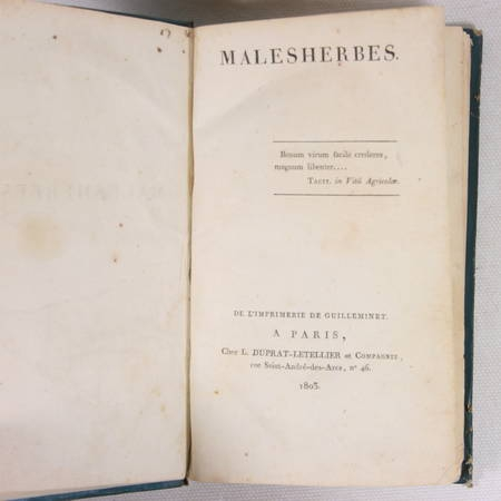 L'ISLE DE SALES - MALESHERBES 1803 - Relié - Photo 0 - livre rare