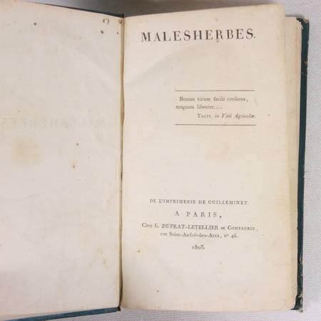 L'ISLE DE SALES (de). Malesherbes