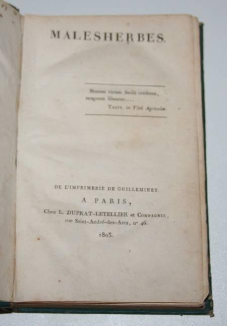 L'ISLE DE SALES - MALESHERBES 1803 - Relié - Photo 2 - livre d'occasion