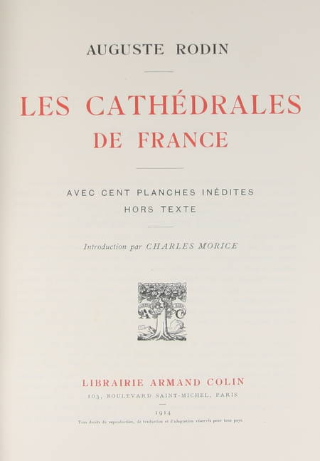 RODIN - Les cathédrales de France - 1914 - EO - 100 planches - Photo 2 - livre d'occasion
