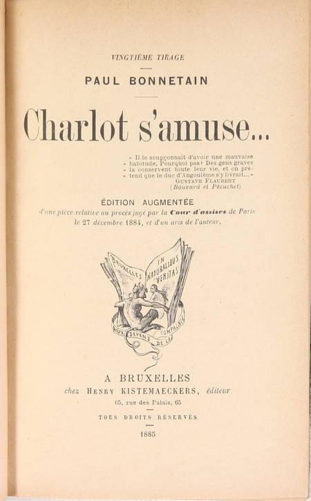 BONNETAIN - Charlot s'amuse - 1885 - Relié - Photo 2 - livre d'occasion