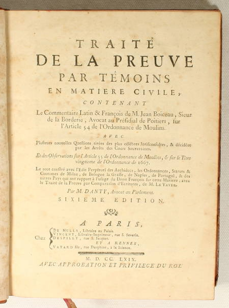 [Droit] DANTY - Traité de la preuve par preuve témoins - 1769 Provenance - Photo 2 - livre d'occasion