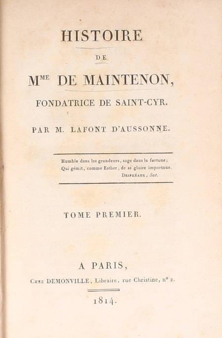 LAFONT - Histoire de Madame de Maintenon fondatrice de Saint-Cyr - 1814 - Photo 2 - livre de collection