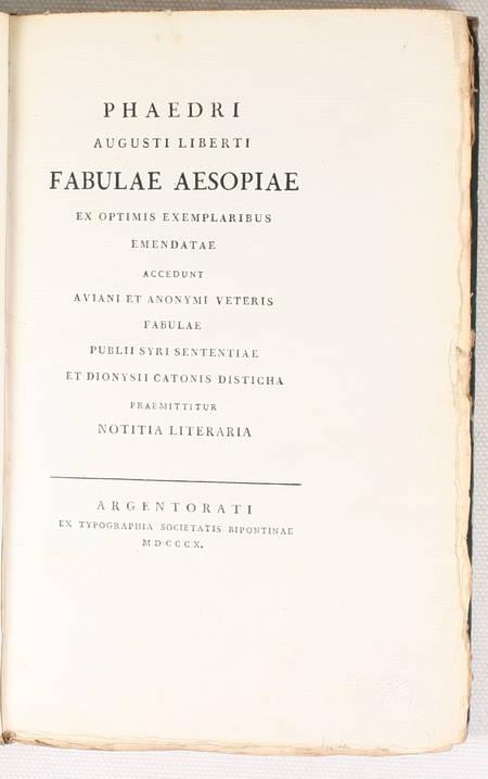PHEDRE - Phaedri Augusti Libert fabulae aesopiae ex optimus exemplaribus - 1810 - Photo 0 - livre du XIXe siècle