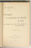 LESCOEUR - Pourquoi et comment on fraude le fisc - 1909 - Relié - Photo 1, livre rare du XXe siècle